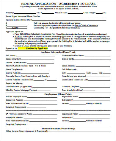 printable rental agreement application