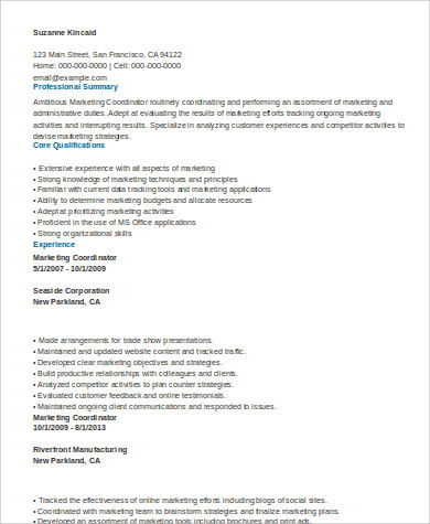 marketing coordinator skills resume