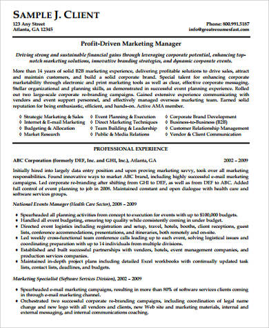 professional marketing manager resume sample