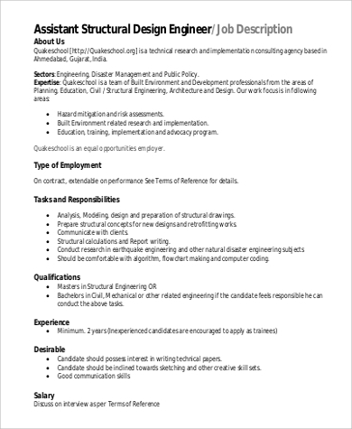 Structural Engineer Job Description Sample - 9+ Examples In Word, Pdf