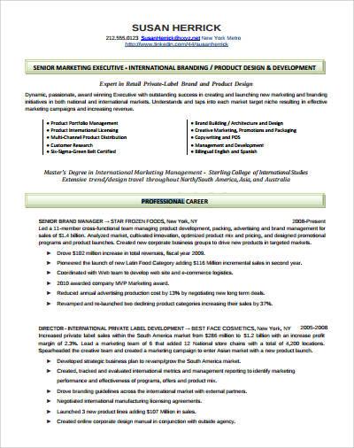 professional marketing executive resume