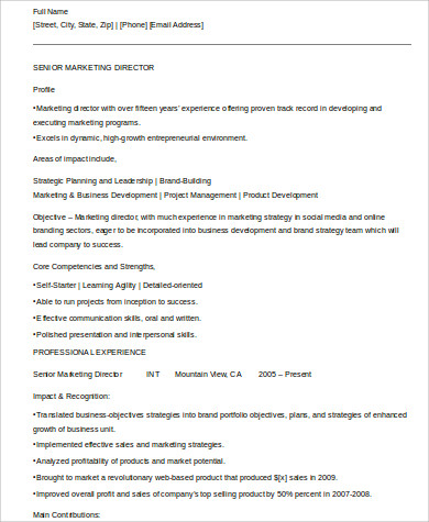 marketing account director resume