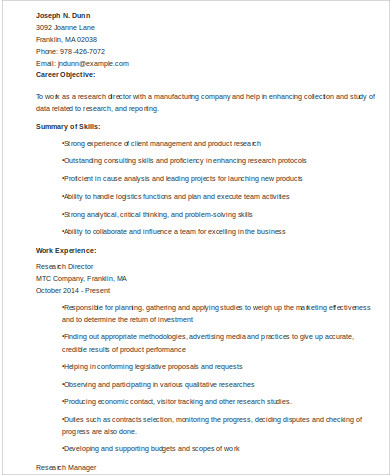 marketing research director resume example