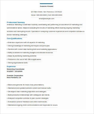 professional marketing coordinator resume