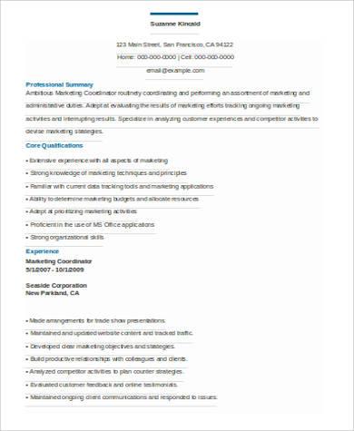 professional marketing coordinator resume