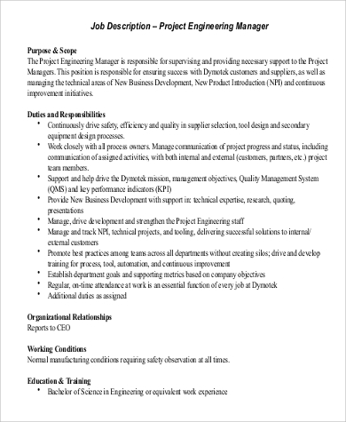 project engineer manager job description format