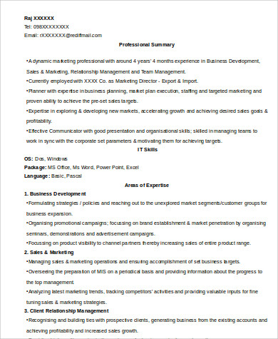 experienced marketing director resume sample