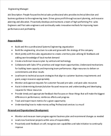 Engineer Manager Job Description Sample   Examples In Pdf