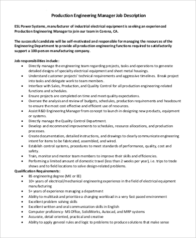 engineer manager job description sample 8 examples in pdf - Production Engineering Job
