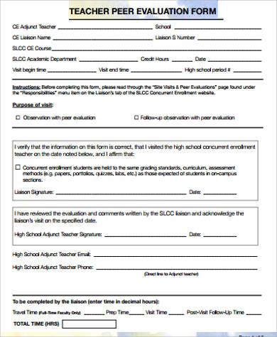 teacher peer evaluation form