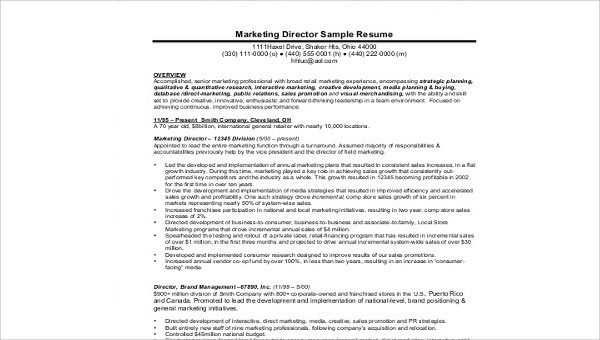 Free 7 Sample Marketing Director Resume Templates In Ms Word Pdf