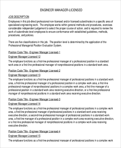 sample engineer manager licensed job description
