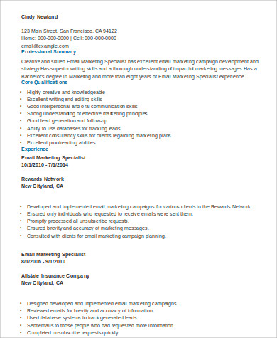 Email Marketing Specialist Skills Resume Sample