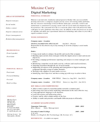 Sample Marketing Skills Resume   Examples In Word Pdf