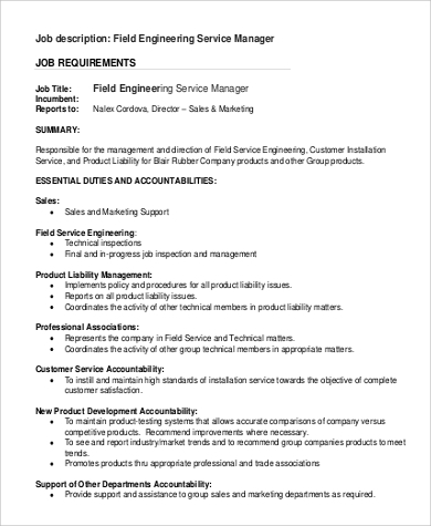 High Quality Field Engineering Service Manager Job Description