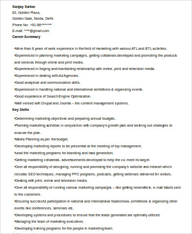 marketing manager skills resume