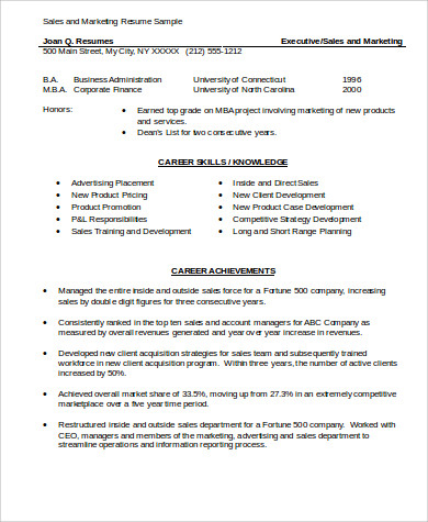 28 marketing resume skills sle mba marketing resume 6