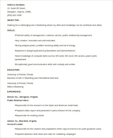 marketing student skills resume