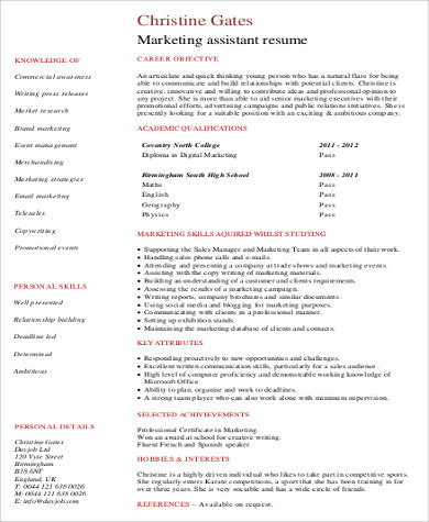marketing assistant skills resume1
