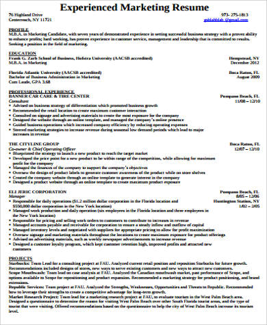 professional experienced marketing resume