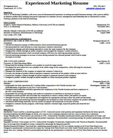 professional experienced marketing resume