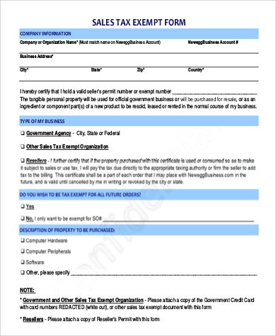 printable sales tax exempt form example