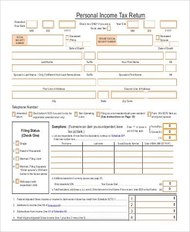printable personal tax return form