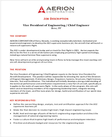 aerospace chief engineer job description pdf