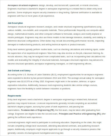 Aerospace Engineer Job Description Sample   Examples In Word