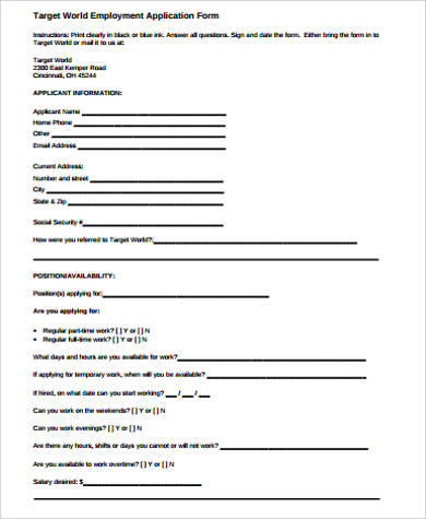 Sample Target Job Application Form   Examples In Pdf