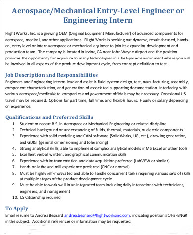 Aerospace Engineer Job Description Sample   Examples In Word Pdf