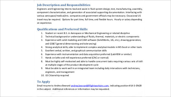 8 Aerospace Engineer Job Description Samples Sample