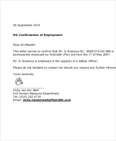 proof of employment template