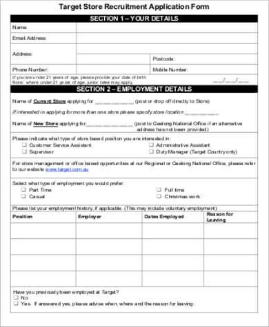 Sample Target Job Application Form - 5+ Examples In Pdf