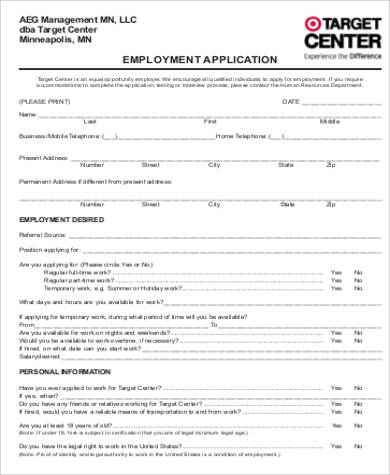 target employment application form1