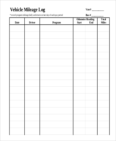 Sample Mileage Log Form   Examples In Pdf