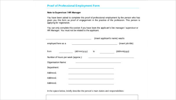 Sample Proof Of Employment 5 Examples In Word Pdf