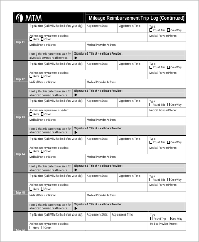 mileage reimbursement trip log form