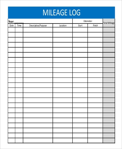 blank mileage log form
