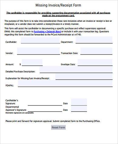 invoice receipt form