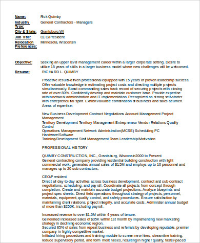 Construction Skills For A Resume