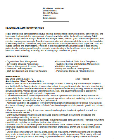 Sample Hospital CEO Resume  Examples Of Ceo Resumes