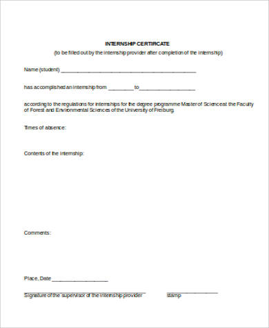 internship certificate example