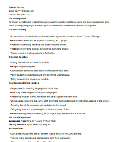 it project manager resume1
