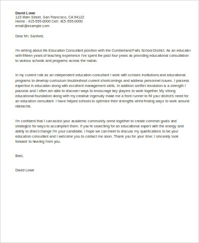 7 sample education cover letters sample templates for Cover letter to consultant for job