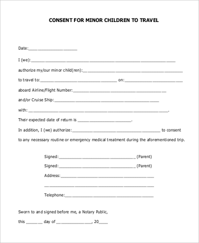 Sample Minor Child Travel Consent Form