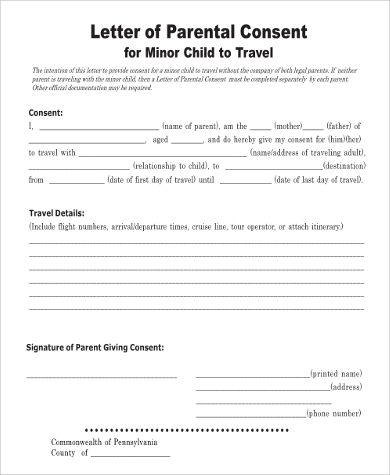 Beautiful Child Travel Medical Consent Letter Form