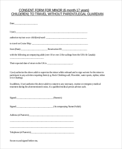 Sample child travel consent form 5 examples in word pdf for Consent form template for children