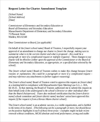 request letter for charter amendment