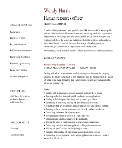 Sample HR Officer Professional Summary Resume  A Professional Resume